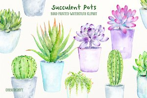 Watercolor Succulent Pots