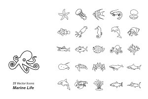 Marine Life outlines vector icons