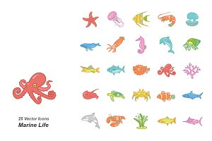 Marine Life color vector icons
