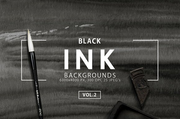 Black Ink Backgrounds Vol. 2 - Textures