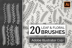 Hand Drawn Floral Leaf Brushes