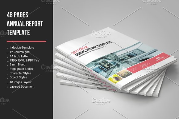 48 Pages Annual Report Template Brochure Templates Creative Market