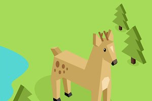 Wild Animal Deer Isometric 3d Design