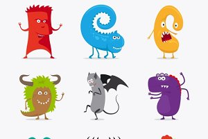Cartoon cute vector monsters