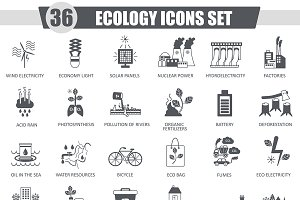 36 Ecology black icons set.