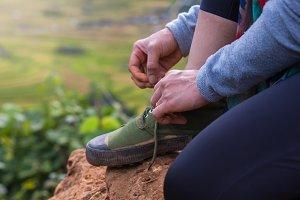 Shoe laces for treking