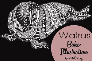 Walrus Boho Illustration