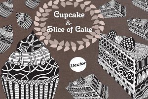 Cupcake & Slice of Cake Drawing