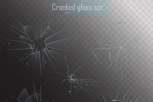 Realistic broken glass cracks alpha.