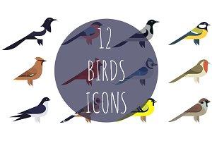 12 birds icons