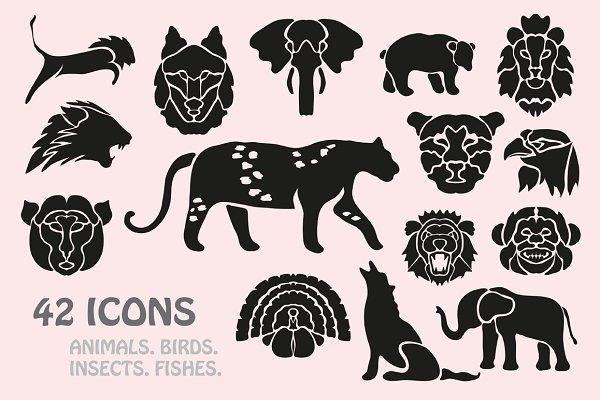 Animals, Birds, Insects Icons Set