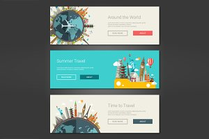 Travel Web Design Banners Set