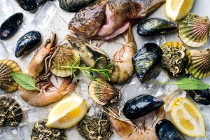 Fresh seafood with herbs and lemon