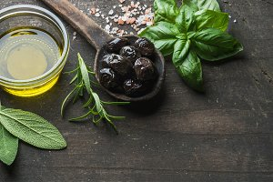 Greek black olives & fresh herbs