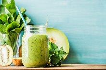 Freshly blended green fruit smoothie