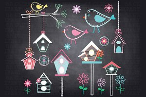 Chalkboard Little Birds Clipart