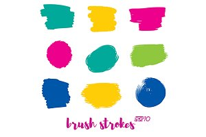 Brush strokes vector template set.