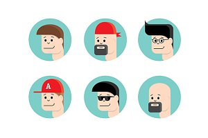 Mens faces vector set.