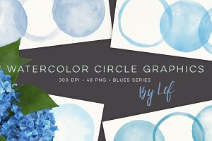 Watercolor Circles and Blobs Clipart