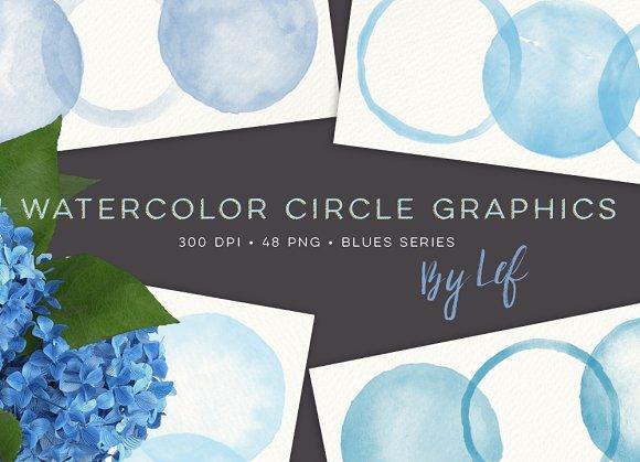 Watercolor Circles and Blobs Clipart