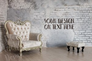 Vintage Armchair and Stool / Mockup