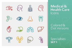 Colored Medical Specialties Icons 1