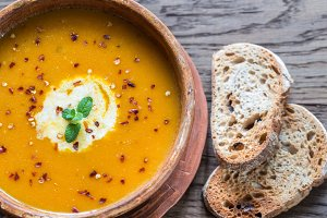 Bowl of spicy pumpkin cream soup