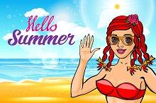 lettering hello summer girl