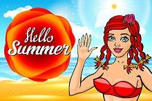 vector Hello, summer sun. girl