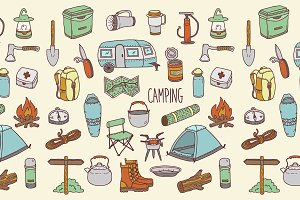 Hand drawn camping set