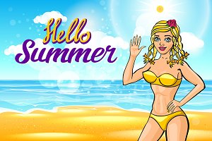 young blonde girl. vector summer