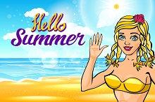 vector Hello, summer sun. girl hello