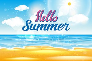 hello Summer Sea Background vector