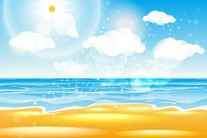 Sea beach with waves vector