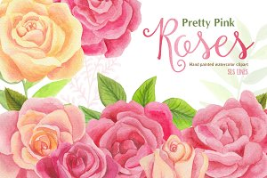 Pretty Pink Roses Watercolors