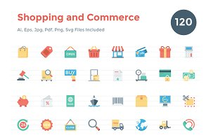 120 Flat Shopping and Commerce Icons