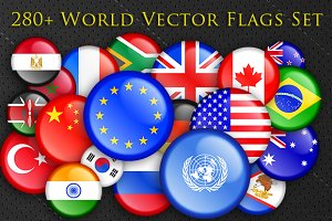 280+ World National Flags Buttons
