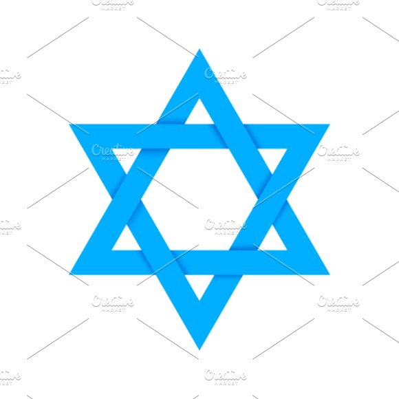 Blue star of David with shadow