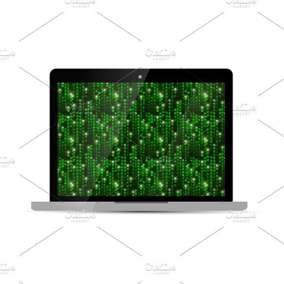 Laptop with green matrix screen