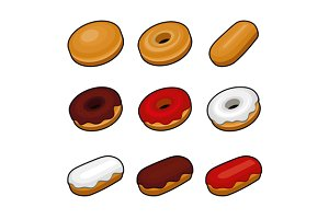 Colorful Donuts Icons Set