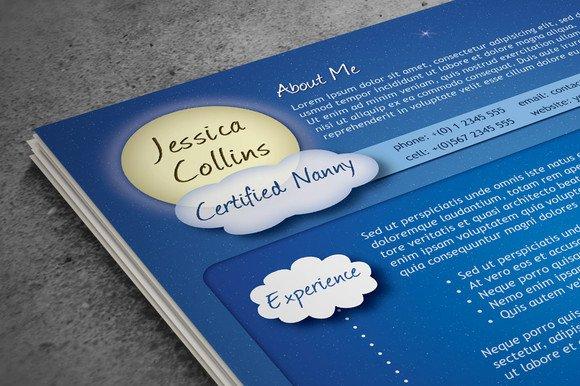 creative nanny resume resume templates creative market