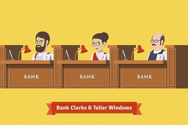 Three bank clerks at work.
