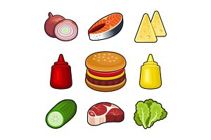 Burger parts icons set