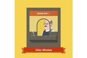 Teller window with a working cashier
