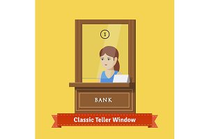 Bank teller window with a clerk