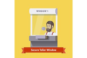Secure teller window with a clerk
