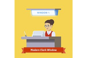 Modern technology teller window.