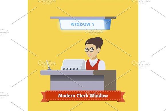 Modern technology teller window.