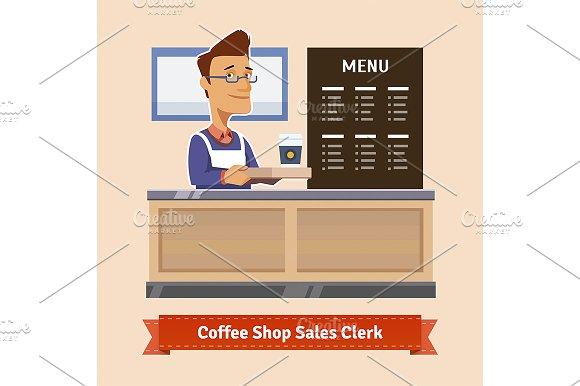 Shop assistant at the cashier desk