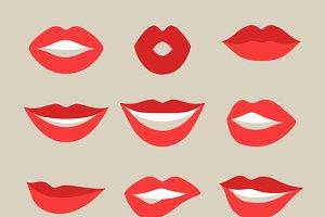 Lips set and seamless patterns.